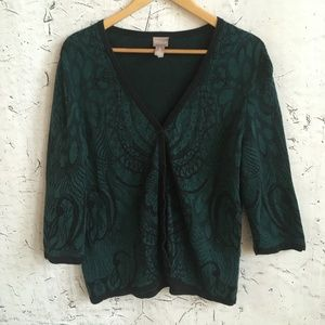 CHICOS GREEN FLORAL CARDIGAN 3